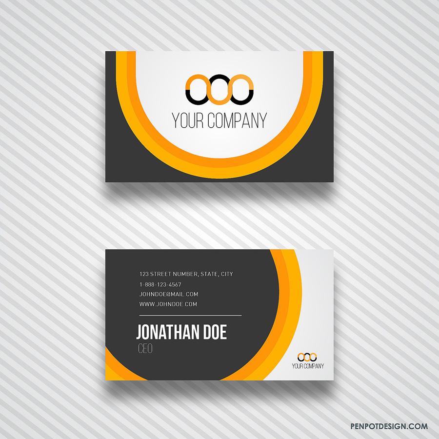 Orange And Black Business Card Template PenPot